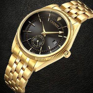 NWT Mens Fashion Gold Watch Luxury